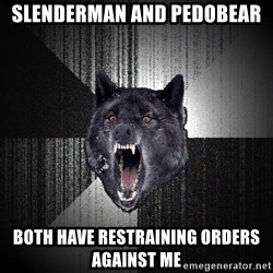 Insanity Wolf - slenderman and pedobear both have restraining orders against me
