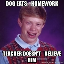 Bad Luck Brian - dog eats    homework teacher doesn't    believe him