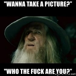 """no memory gandalf - """"WANNA TAKE A PICTURE?"""" """"WHO THE FUCK ARE YOU?"""""""