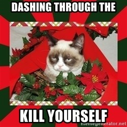 GRUMPY CAT ON CHRISTMAS - DASHING THROUGH THE KILL YOURSELF