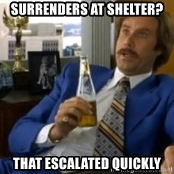 That escalated quickly-Ron Burgundy - SURRENDERS AT SHELTER? THAT ESCALATED QUICKLY