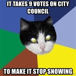 Winnipeg Cat - It takes 9 votes on city council to make it stop snowing