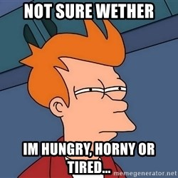 Futurama Fry - not sure wether im hungry, horny or tired...