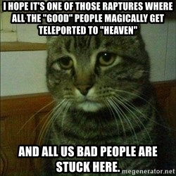 """Depressed cat 2 - I hope it's one of those raptures where all the """"good"""" people magically get teleported to """"heaven"""" and all us bad people are stuck here."""