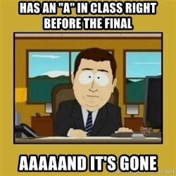"aaand its gone - HAS AN ""A"" IN CLASS RIGHT BEFORE THE FINAL AAAAAND IT'S GONE"