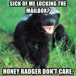 Honey Badger Actual - sick of me locking the mailbox? honey badger don't care.