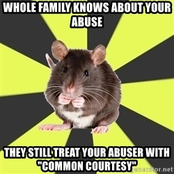 "Survivor Rat - whole family knows about your abuse they still treat your abuser with ""common courtesy"""