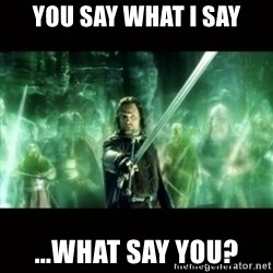 Aragorn What Say You - you say what i say ...what say you?