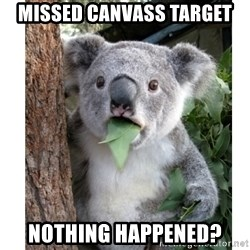 surprised koala - missed canvass target nothing happened?