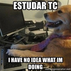 I have no idea what I'm doing - Dog with Tie - estudar tc i have no idea what im doing