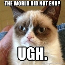 Grumpy Cat  - the world did not end? ugh.