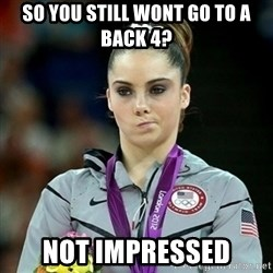 Not Impressed McKayla - so you still wont go to a back 4? not impressed