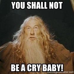 You shall not pass - you shall not be a cry baby!