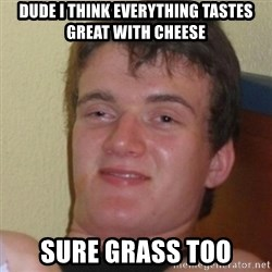 Stoner Stanley - dUDE I THINK EVERYTHING TASTES GREAT WITH CHEESE sure grass too