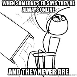 Desk Flip Rage Guy - when someone's fb says they're always online and they never are