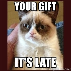 Tard the Grumpy Cat - your gift it's late