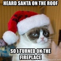 Grumpy Cat Santa Hat - heard santa on the roof so i turned on the fireplace