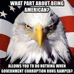 American Pride Eagle - What part about being American?  Allows you to do nothing when government corruption runs ramped?