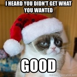 Grumpy Cat Santa Hat - I heard you didn't get what you wanted Good
