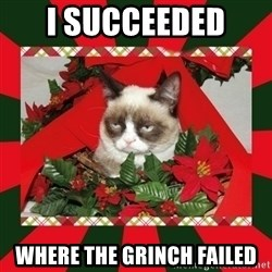 GRUMPY CAT ON CHRISTMAS - I succeeded  where the grinch failed