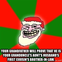 Santa Claus Troll Face - your grandfather will prove that he is your granduncle's aunt's husband's first cousin's brother-in-law.