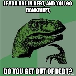 Philosoraptor - if you are in debt, and you go bankrupt, do you get out of debt?