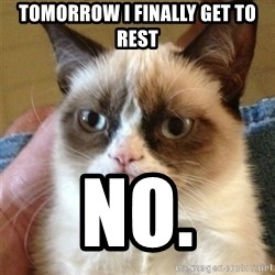 Grumpy Cat  - tomorrow I finally get to rest no.
