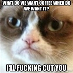 angry cat asshole - what do we want coffee when do we want it? i'll fucking cut you