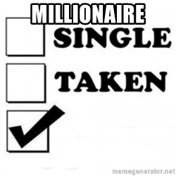 single taken checkbox - Millionaire