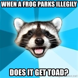 Lame Pun Coon - When a frog parks illegily  does it get toad?