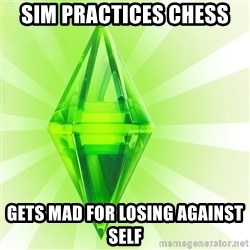 Sims - sim practices chess gets mad for losing against self