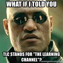 "What if I told you / Matrix Morpheus - what if i told you tlc stands for ""the learning channel""?"