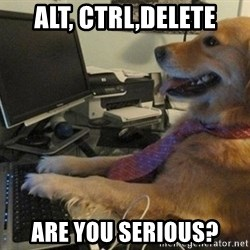 I have no idea what I'm doing - Dog with Tie - alt, ctrl,delete are you serious?