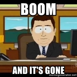 Aand Its Gone - Boom And it's gone