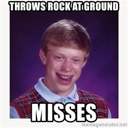nerdy kid lolz - THROWS ROCK AT GROUND MISSES