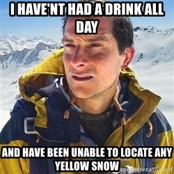 Bear Grylls Loneliness - i have'nt had a drink all day and have been unable to locate any yellow snow