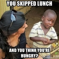 African boy checka - you skipped lunch and you think you're hungry?
