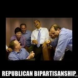 obama laughing  - republican bipartisanship