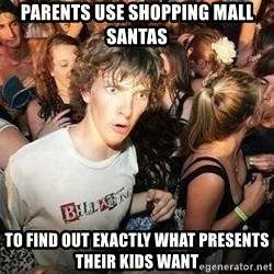 -Sudden Clarity Clarence - parents use shopping mall santas to find out exactly what presents their kids want