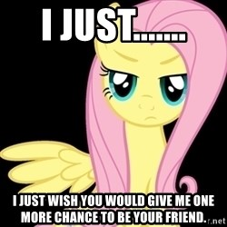 Fluttershy  - I just....... I just wish you would give me one more chance to be your friend.
