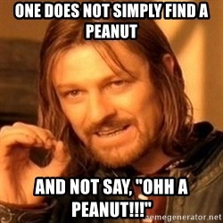 "One Does Not Simply - One Does not simply find a peanut and not say, ""ohh a peanut!!!"""