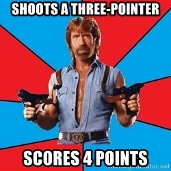 Chuck Norris  - Shoots a three-pointer Scores 4 points