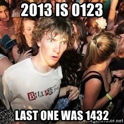 Sudden Realization Ralph - 2013 is 0123 last one was 1432