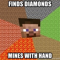 Minecraft Guy - finds diamonds MINES WITH HAND