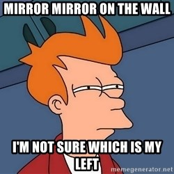 Futurama Fry - mirror mirror on the wall i'm not sure which is my left