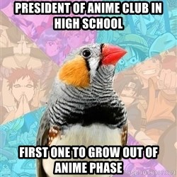 Former Otaku Finch - president of anime club in high school first one to grow out of anime phase