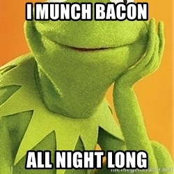Kermit the frog - I MUNCH BACON  ALL NIGHT LONG