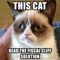 Grumpy Cat  - This cat read the fiscal cliff solution