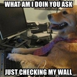I have no idea what I'm doing - Dog with Tie - what am i doin you ask just checking my wall