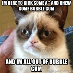 Grumpy Cat  - IM HERE TO KICK SOME A** AND CHEW SOME BUBBLE GUM AND IM ALL OUT OF BUBBLE GUM